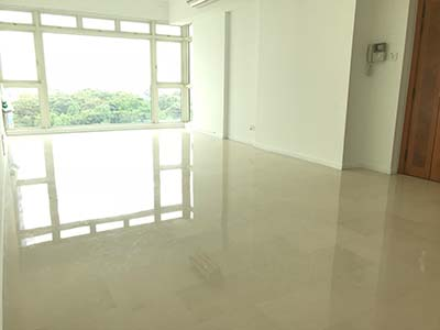 Polishing marble floor to setup property for new rental - Costa Del Sol 3 Bed living room - By Alvin Lim Costa Del Sol Agent