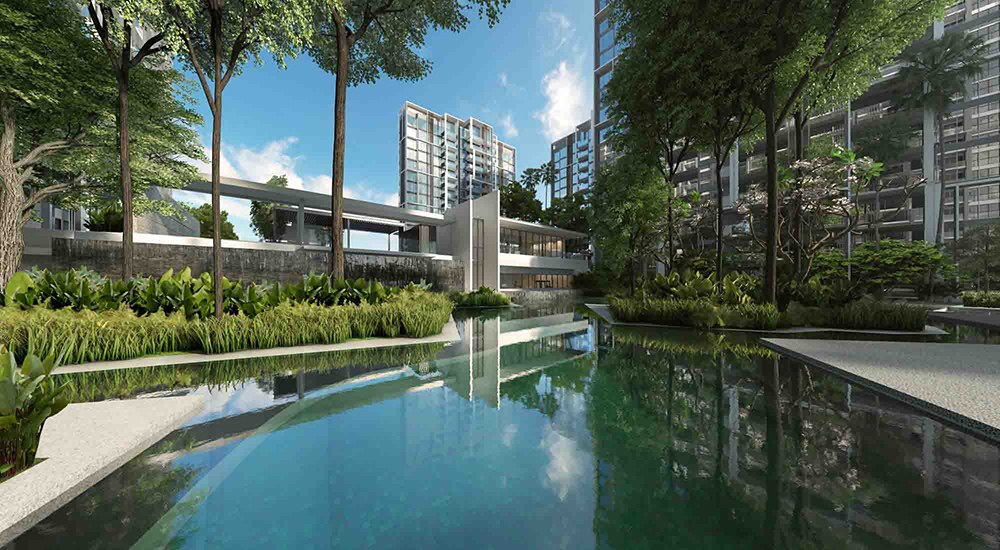 Club House and Wall Fall of Penrose Condo Singapore New Launch by Developer CDL Hong Leong.
