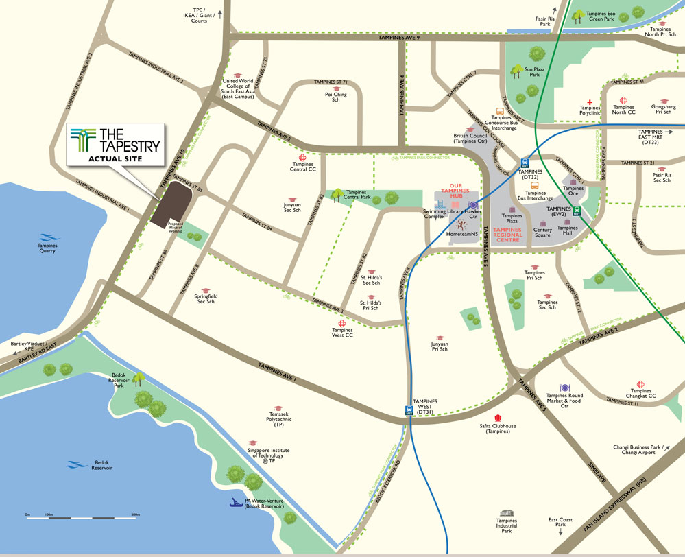 The Tapestry location map